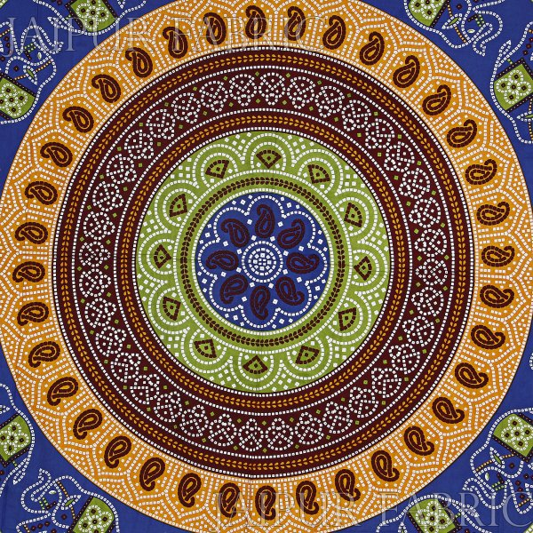 Blue Border Jaipuri Rajasthani Bandhani Print Cotton