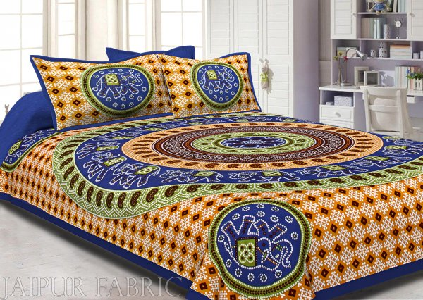 Blue Border Jaipuri Rajasthani Bandhani Print Cotton Double Bed Sheet