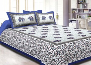 Blue Border Jaipuri Elephant Print Cotton Double Bed Sheet