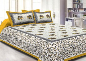 Yellow Border Jaipuri Elephant Print Cotton Double Bed Sheet