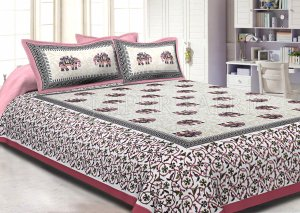 Pink Border Jaipuri Elephant Print Cotton Double Bed Sheet