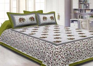 Green Border Jaipuri Elephant Print Cotton Double Bed Sheet