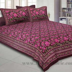 Maroon Floral Decor Double Bedsheet