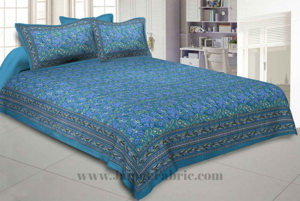 Green Floral Decor Double Bedsheet