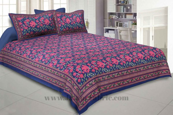 Blue Floral Decor Double Bedsheet