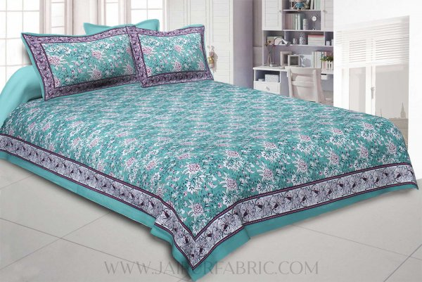 Green Floret Bed Double Bedsheet