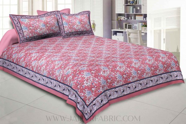 Pink Floret Bed Double Bedsheet