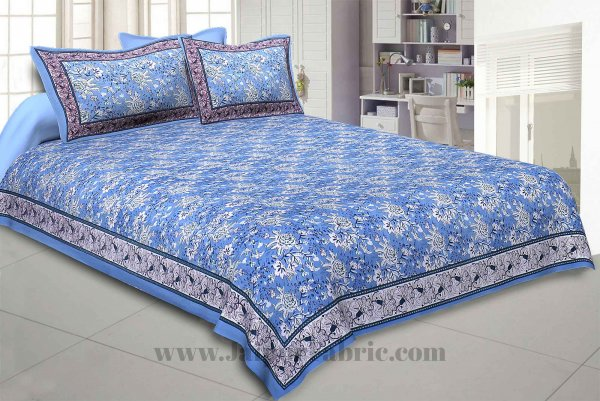 Blue Floret Bed Double Bedsheet
