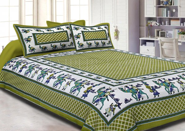Green Border Fat Wedding Print Cotton Double Bed Sheet