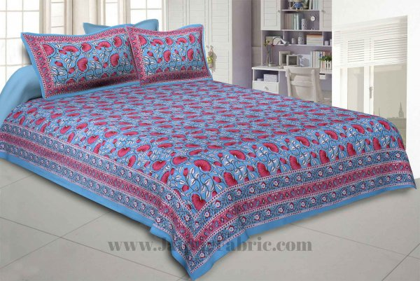 Lush Lotus Blue Double Bedsheet