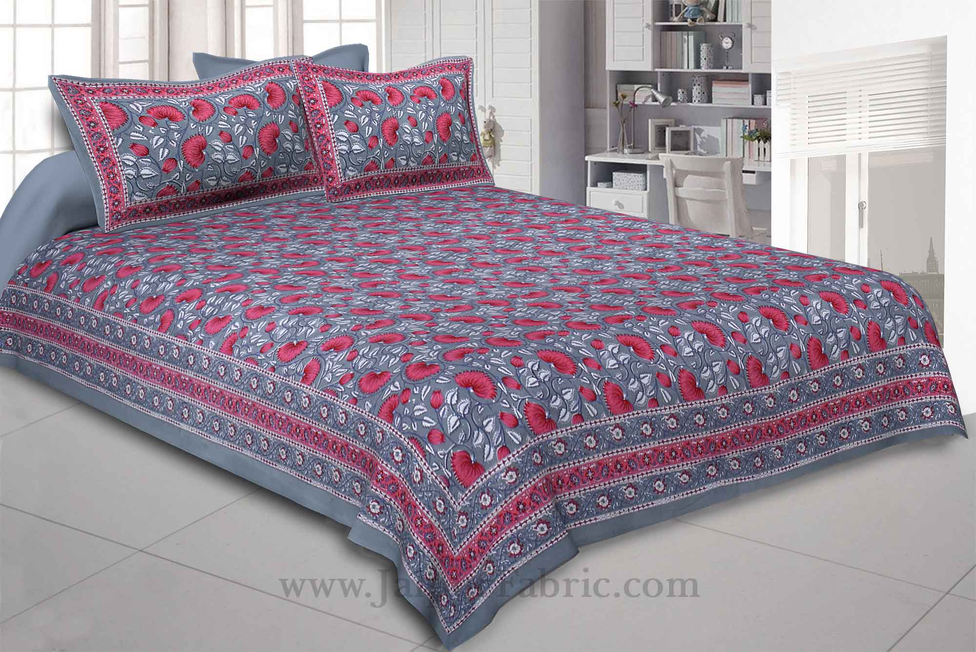 Lush Lotus Grey Double Bedsheet