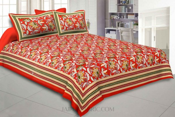 Ferns Petals Red Double Bedsheet