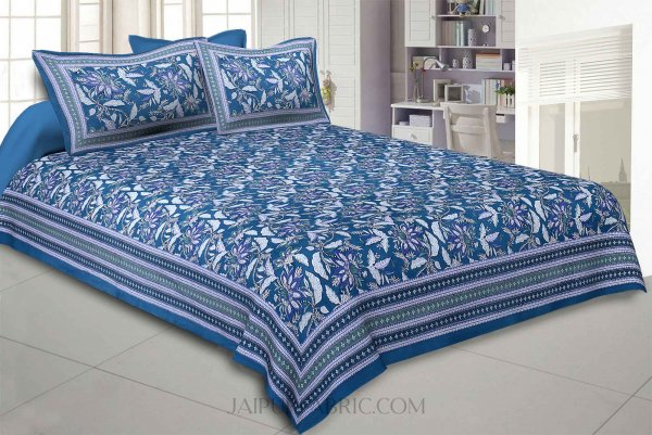Ferns Petals Green Double Bedsheet