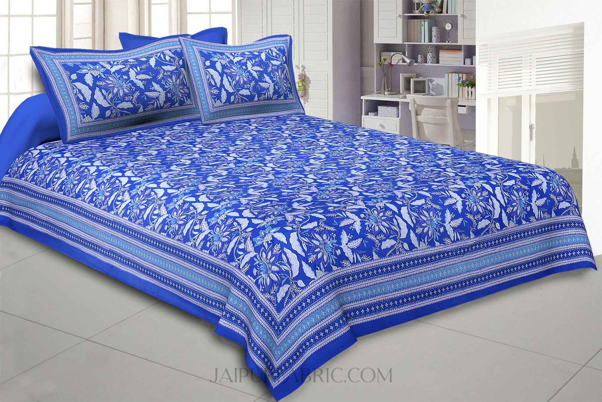 Ferns Petals Blue Double Bedsheet