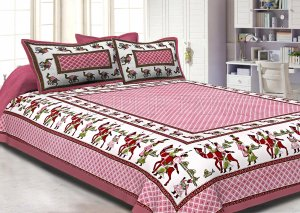 Pink Border Fat Wedding Print Cotton Double Bed Sheet