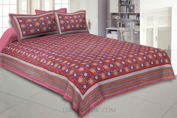 Festival Chakri Red Double Bedsheet