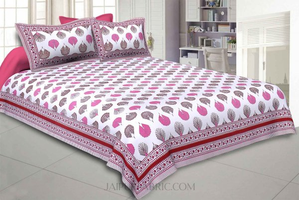 Morr Pankh Pink Double Bedsheet