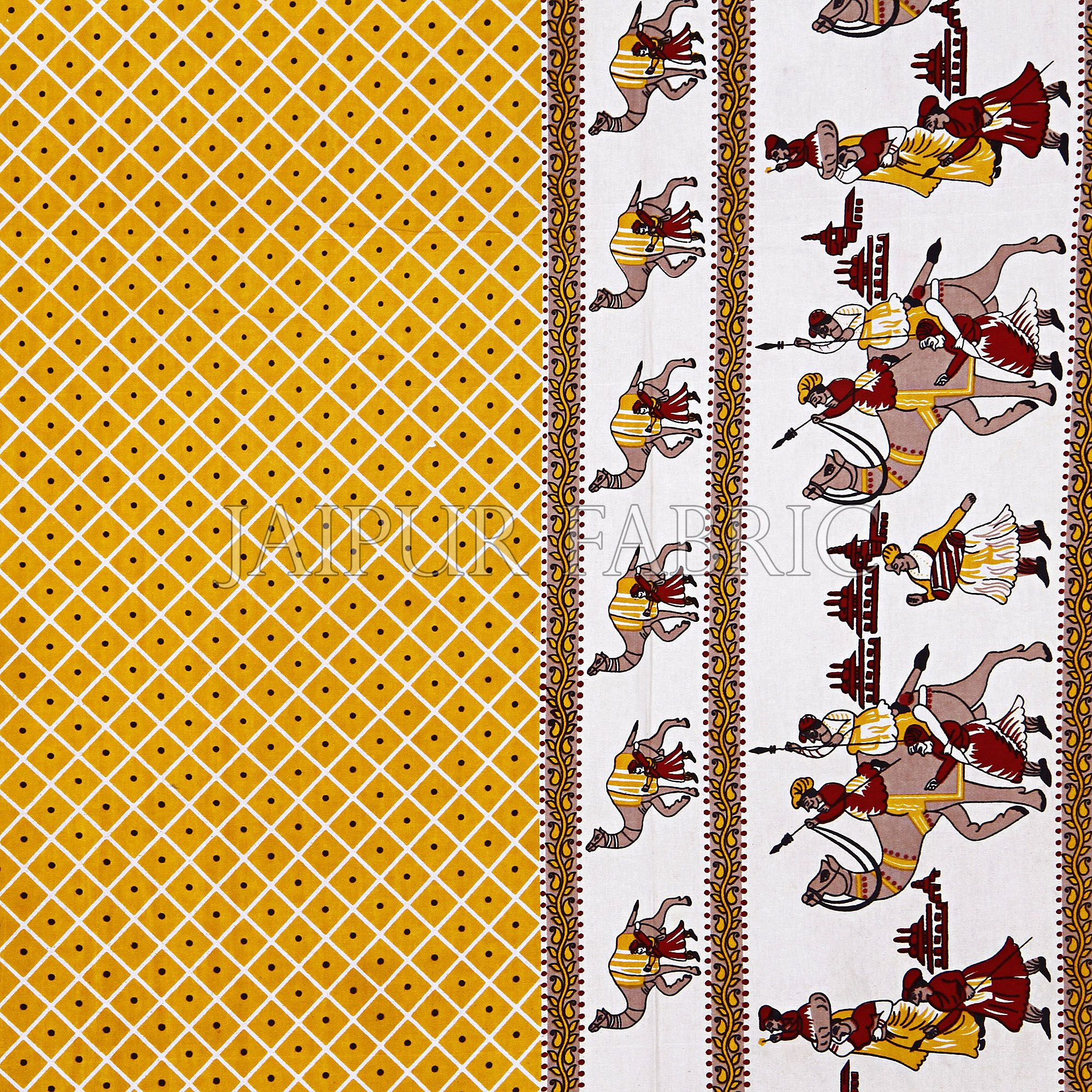 Yellow Border Fat Wedding Print Cotton Double Bed Sheet