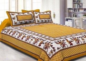 Yellow Border Fat Wedding Print Cotton Double Bed Sheet