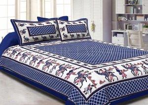 Blue Border Fat Wedding Print Cotton Double Bed Sheet