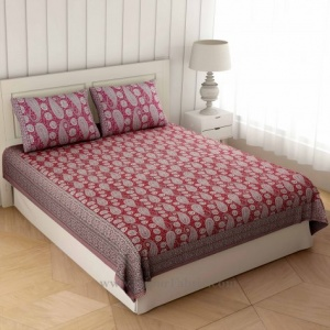 Beautiful Pink Artistic Paisley Double Bedsheet