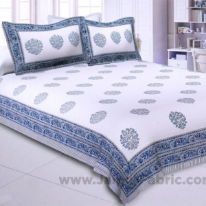 Supple Waves Hand Block Print Double Bedsheet