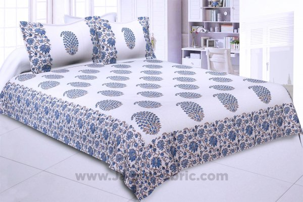 Princely Paisley Hand Block Print Double Bedsheet
