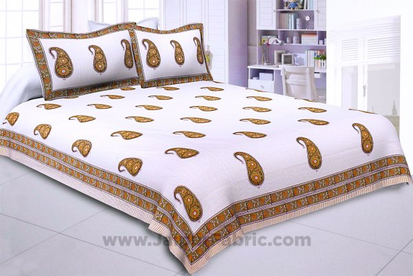 Awe of Hand Block Print Paisley Double Bedsheet