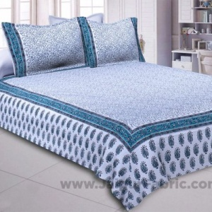 The Blue Opulence Hand Block Print Double Bedsheet