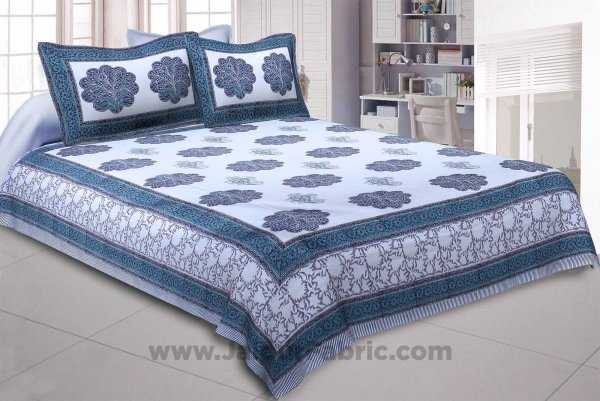 Marvelous Mughal Hand Block Print Double Bedsheet