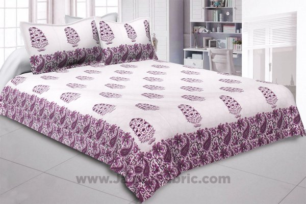 Purple Gamla Hand Block Print Double Bedsheet