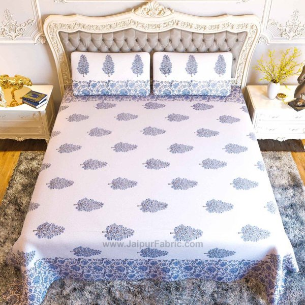 Traditional Tree Blue Hand Block Print Double Bedsheet