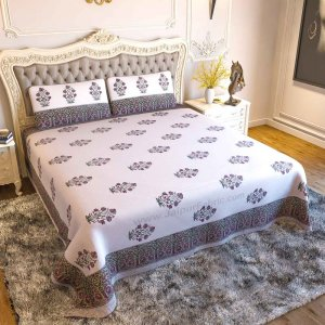 Dark Pink Flora Bunch Hand Block Print Double Bedsheet