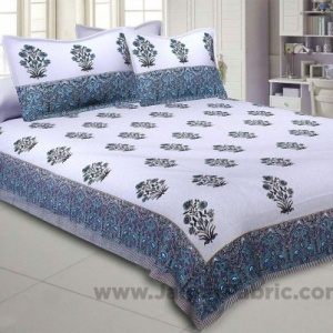 Blue Flora Bunch Hand Block Print Double Bedsheet