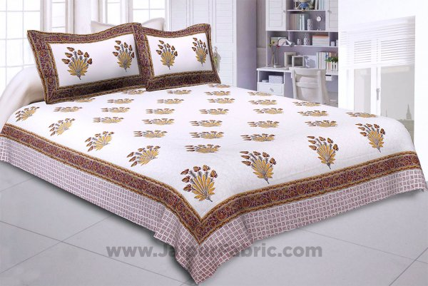 Feathers of Fortune Yellow Hand Block Print Double Bedsheet