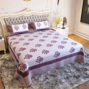 Feathers of Fortune Pink Hand Block Print Double Bedsheet