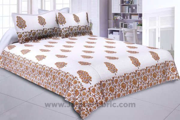 Traditional Tree Yellow Hand Block Print Double Bedsheet