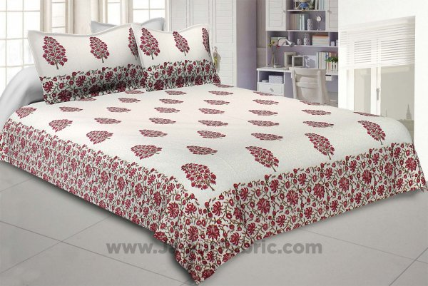 Traditional Tree Pink Hand Block Print Double Bedsheet