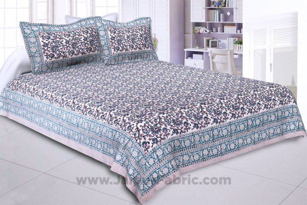 Blue Floral Festoon Hand Block Print Double Bedsheet