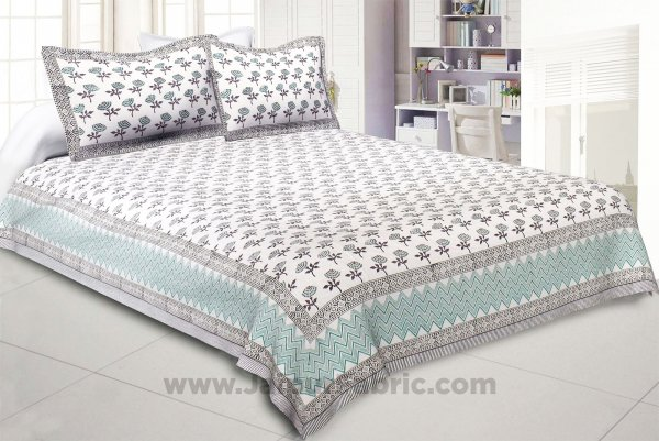 Dotted Flowers Hand Block Print Double Bedsheet