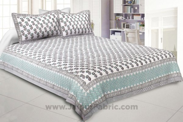 Flighty Green Hand Block Print Double Bedsheet