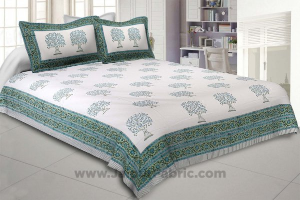 Holy Banyan Tree Green Hand Block Print Double Bedsheet