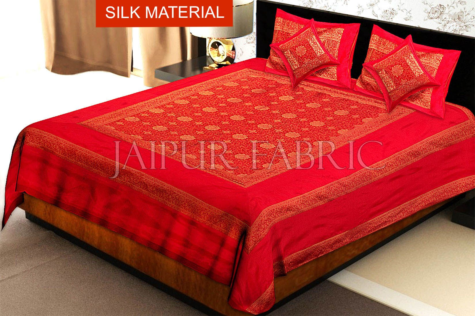Red Rajasthani Zari Embroidered Lace Work Silk Double Bed Sheet