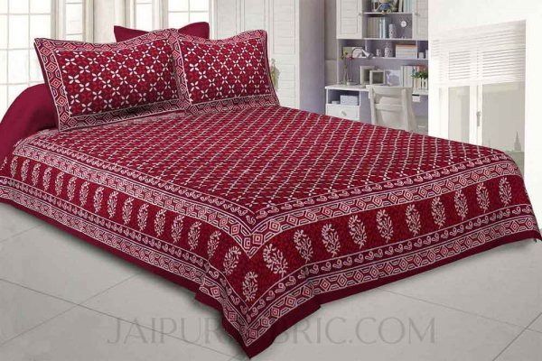 Checkered Lehriya Hand Block Print Double Bedsheet