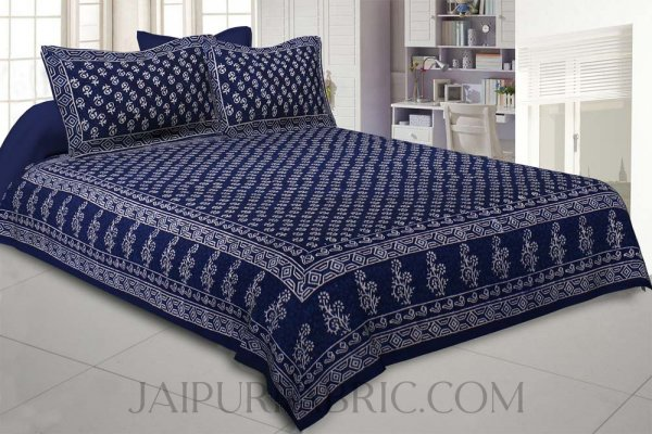 Natural Dye Navy Blue Dabu Print Double Bedsheet