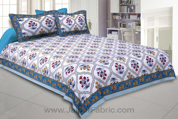 Blue Celebrations Double Bedsheet