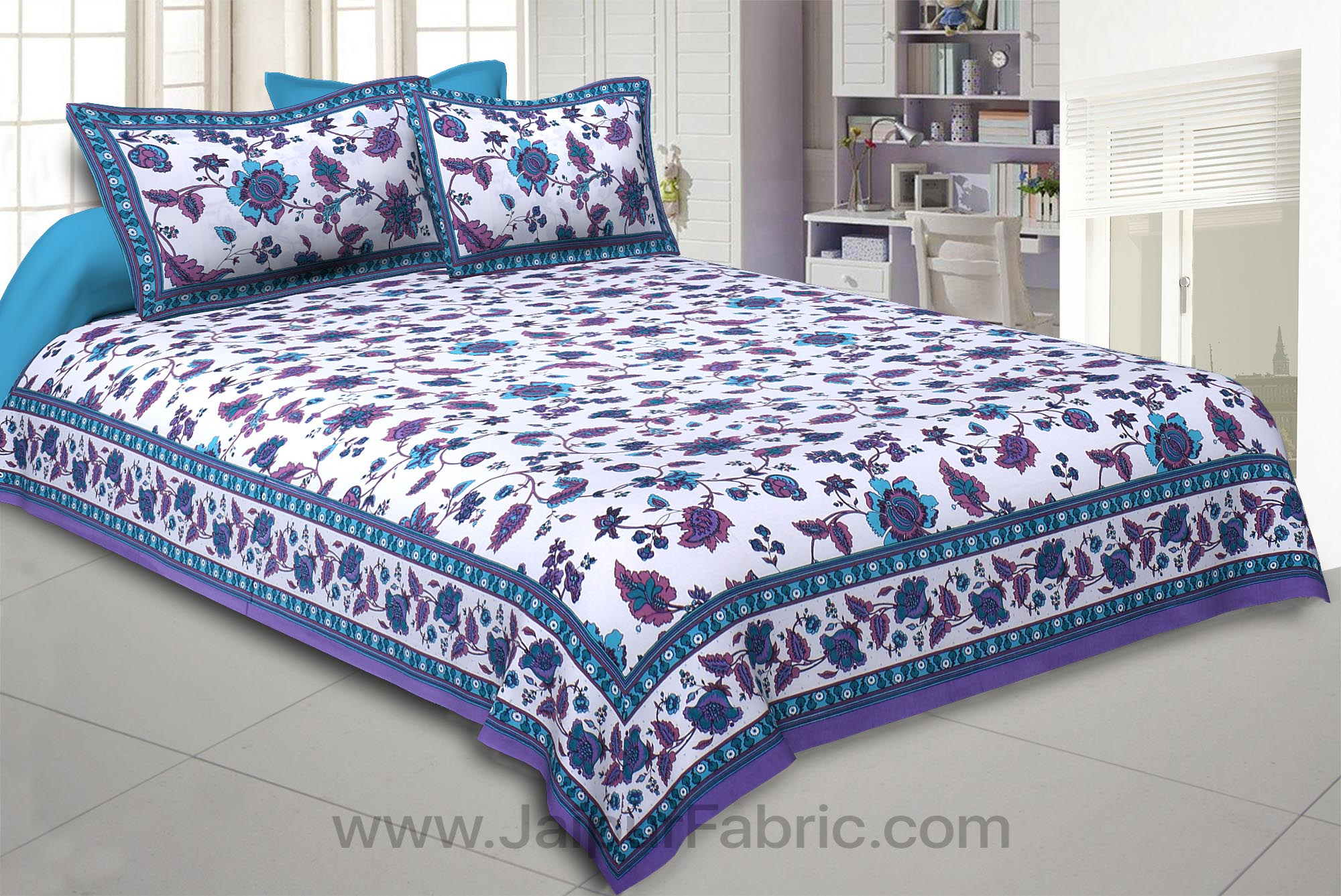 Blue Jungle Jamboree Double Bedsheet