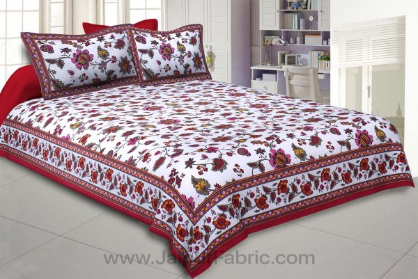 Maroon Jungle Jamboree Double Bedsheet