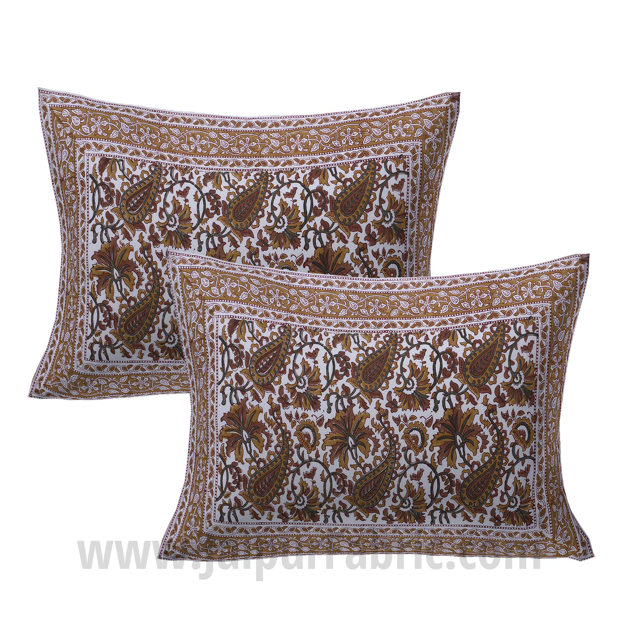 Playful Paisley Brown Hand Block Print Double Bedsheet