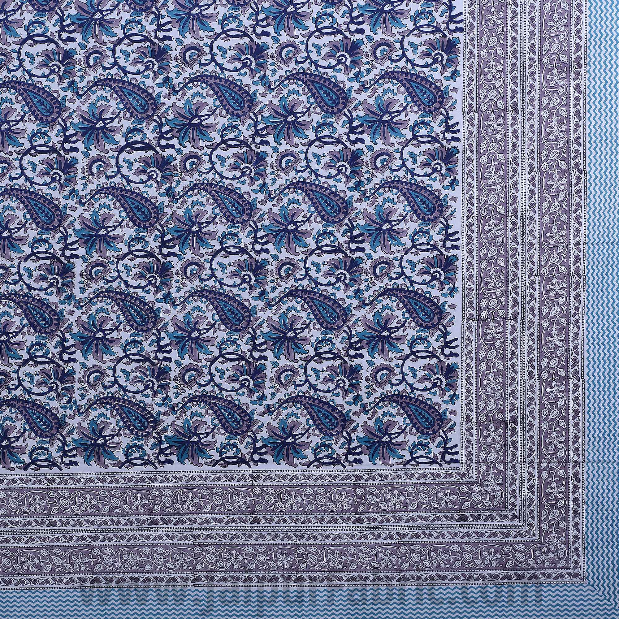 Playful Paisley Blue Hand Block Print Double Bedsheet